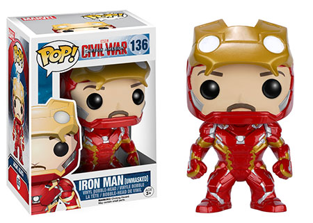 Hot Topic Exclusive Funko Civil War Unmasked Iron Man POP Vinyls Figure