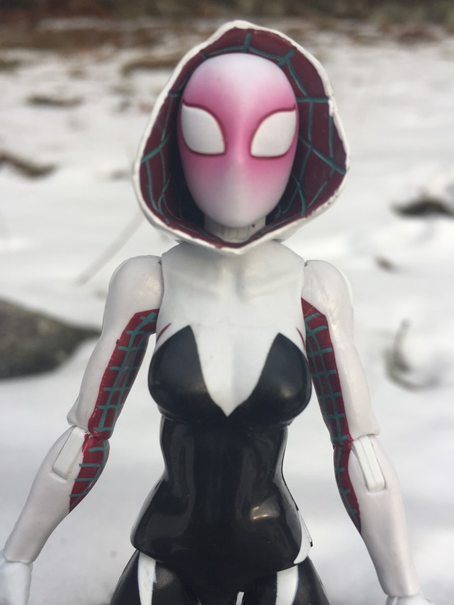 Close-Up of 6 Inch marvel Legends Spider Gwen Action Figure