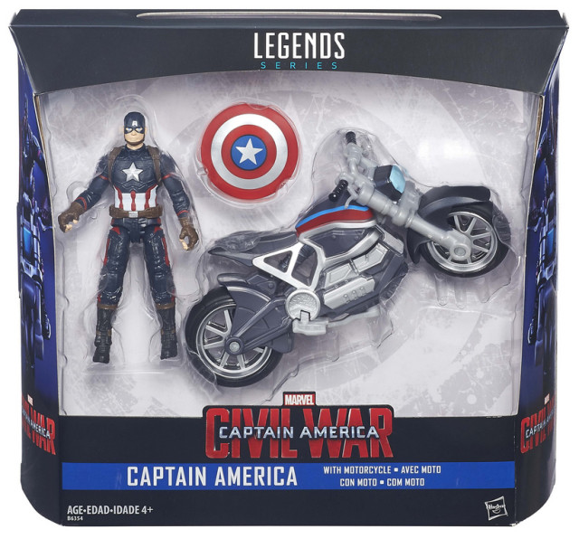 Marvel Legends Captain America with Motorcycle 4 Inch Figure Set