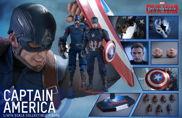Hot Toys Civil War Captain America Figure and Accessories