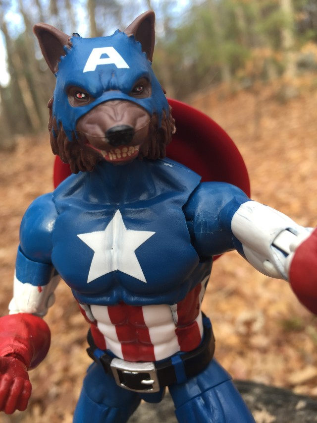 Close-Up of Captain America Marvel Legends Cap-Wolf Head