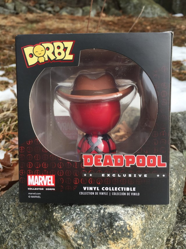 Back of Dorbz Exclusive Deadpool Cowboy Vinyl Figure
