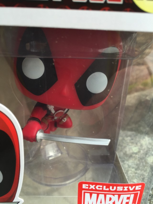 Close-Up of Leaping Deadpool POP Vinyl Figure Exclusive