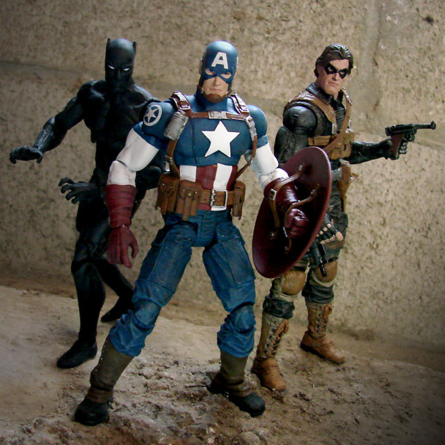 Marvel Select Black Panther Avenging Captain America Winter Soldier Figures
