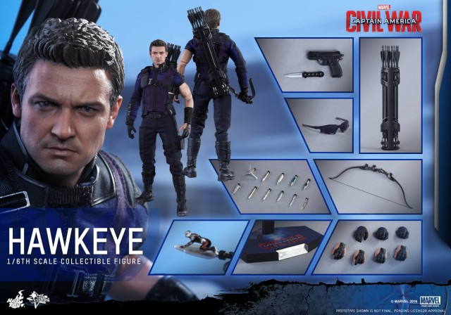 Captain America Civil War Hot Toys Hawkeye Figure and Accessories