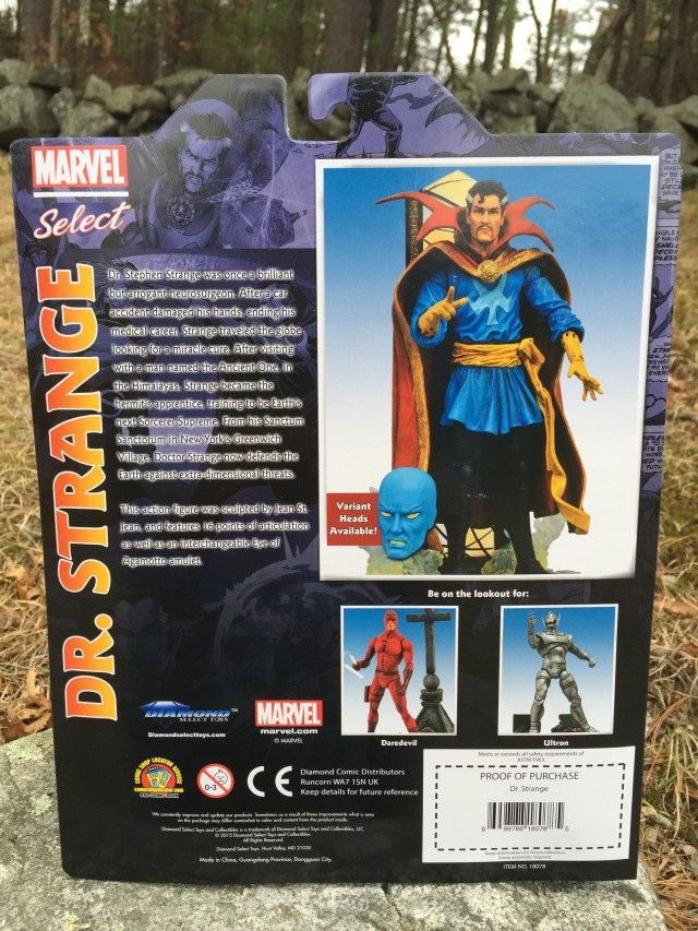Back of Packaging Doctor Strange Marvel Select Figure Variant Head