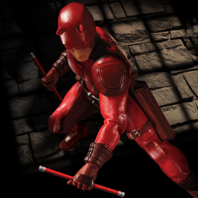 Mezco One 12 Collective Marvel Daredevil Figure with Billy Clubs