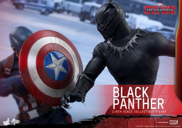 Hot Toys Civil War Black Panther Clawing Captain America's Shield