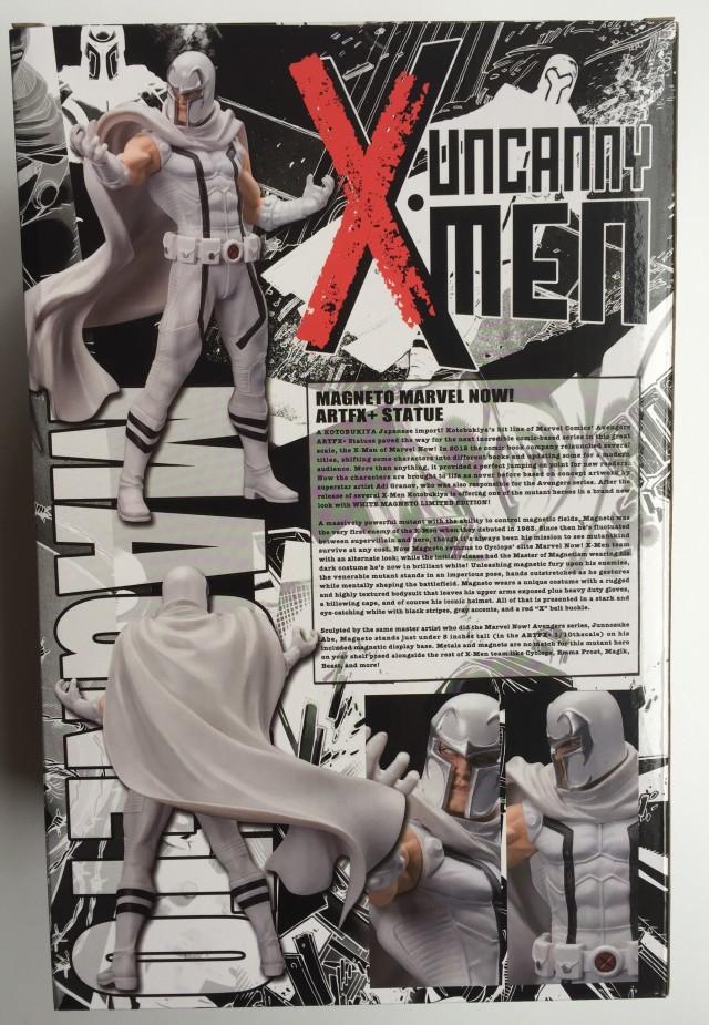 White Costume Magneto Kotobukiya Box Back