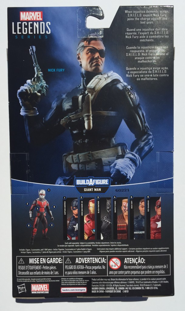 Back of Package Captain America Legends Nick Fury Figure