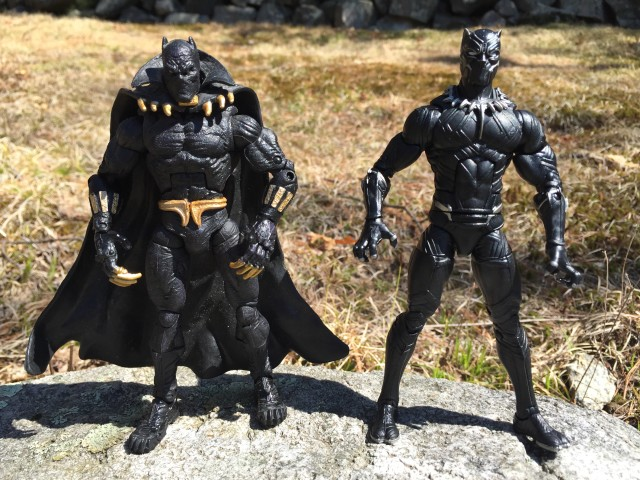 Comparison of Toybiz Marvel Legends Black Panther and Hasbro Civil War Figure