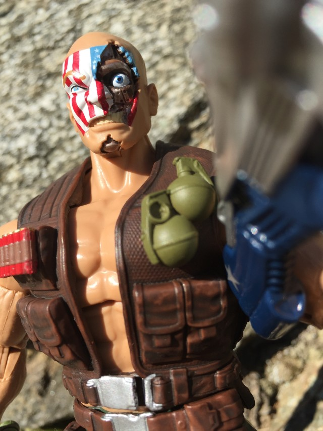 Close-Up of Nuke Cyborg Head Battle-Damaged Marvel Legends