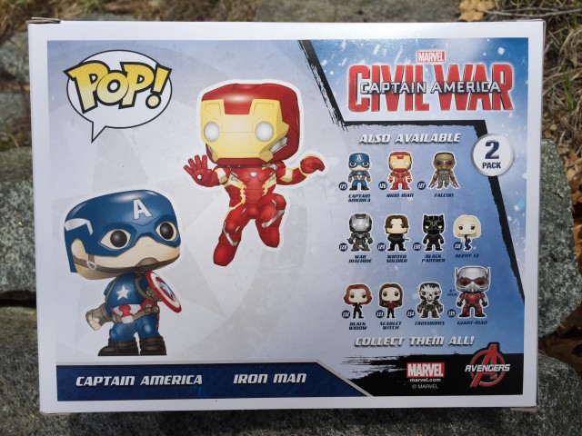 Box Back Civil War Collector Corps POP Vinyls Two-Pack Cap Iron Man