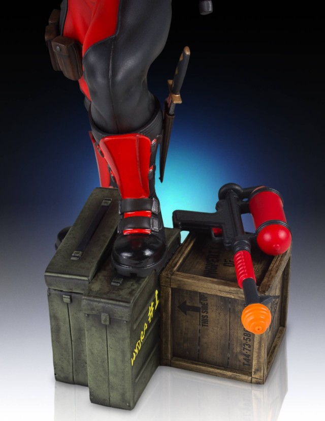 Detail of Crates with Deadpool Gentle Giant Gallery Statue