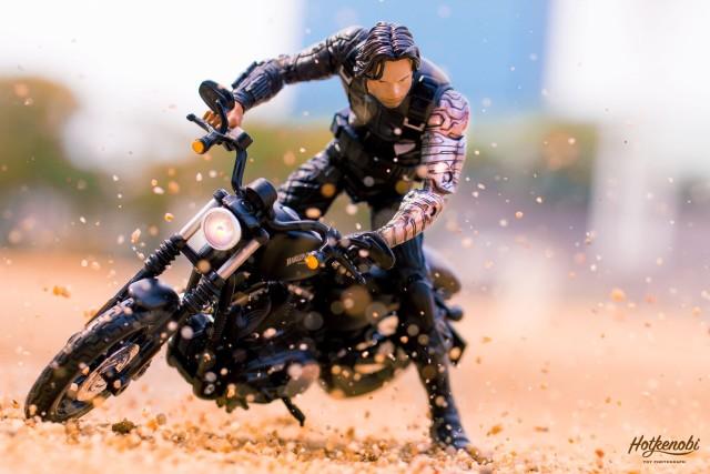 Captain America Civil War Winter Soldier Marvel Legends Figure on Motorcycle