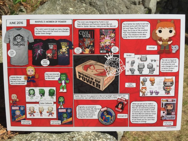 June 2016 Funko Marvel Collector Corps Contents Card