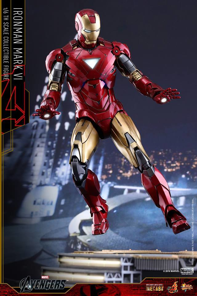 Die-Cast Hot Toys Iron Man Mark VI Figure Flying