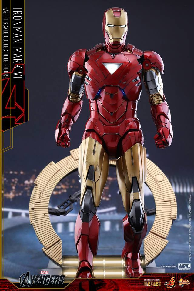 Die-Cast Iron Man Mark VI Hot Toys Figure with Stark Tower Figure Stand