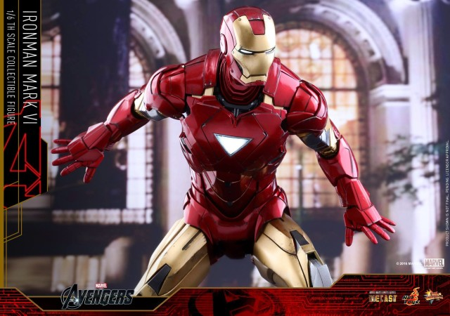 Hot Toys Iron Man Mark 6 Die-Cast Figure with Light-Up Arc Reactor