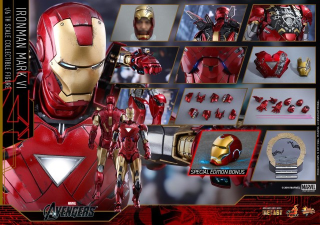 Sideshow Exclusive Hot Toys Iron Man Mark VI Die-Cast with Illuminated Helmet