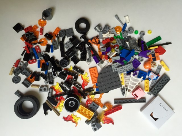 Unassembled Pieces of LEGO Marvel 76058