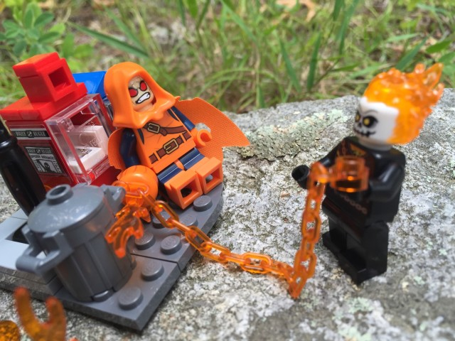 LEGO Ghost Rider Attacks Hobgoblin with Flaming Chain