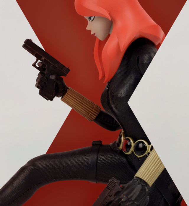 Three A Toys Black Widow Sixth Scale Figure Holding Pistols