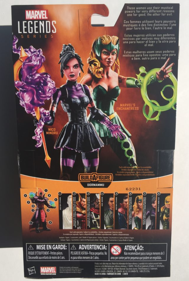 Back of Package Marvel Legends Enchantress Nico Mystic Rivals