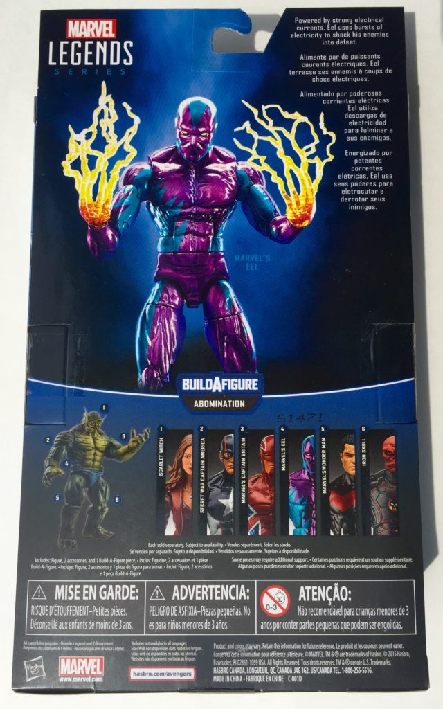 Back of Marvel's Eel Legends Figure Packaging