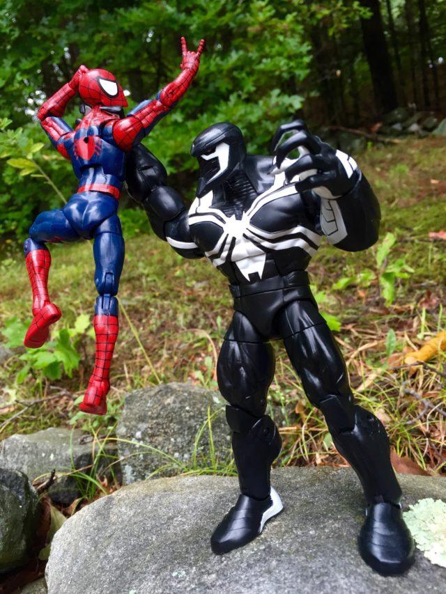 Space Venom Marvel Legends Action Figure Holding Spider-Man Figure