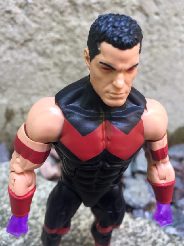 "Close-Up of Wonder Man Marvel Legends 6"" Figure Head Hair Red Eyes"