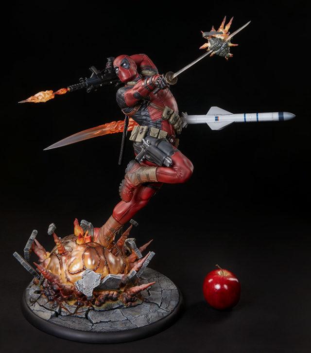heat-seeker-deadpool-premium-format-statue-scale-photo-with-apple