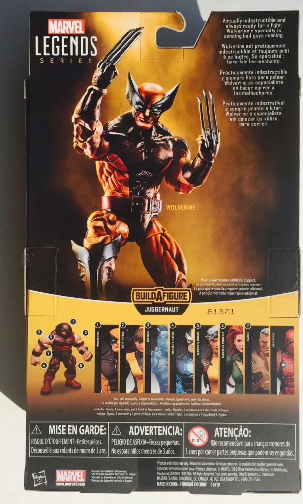 Back of Packaging Marvel Legends X-Men Wolverine