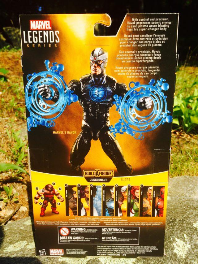 Back of Package Marvel Legends X-Men Havok