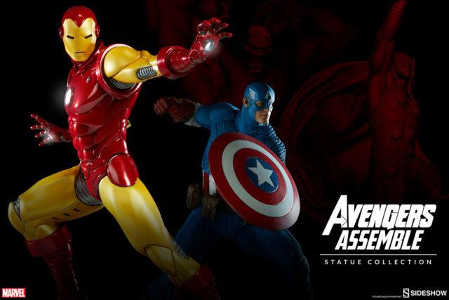 sideshow-avengers-assemble-statues-iron-man-captain-america-hulk-thor