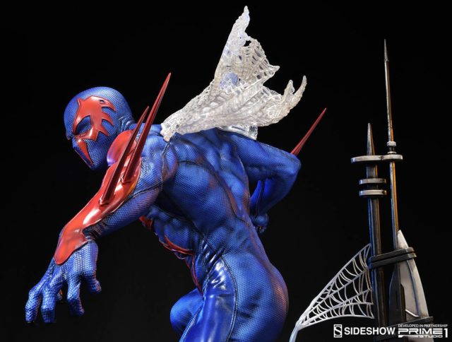 close-up-of-back-of-spider-man-2099-statue-sideshow-prime-1-studios