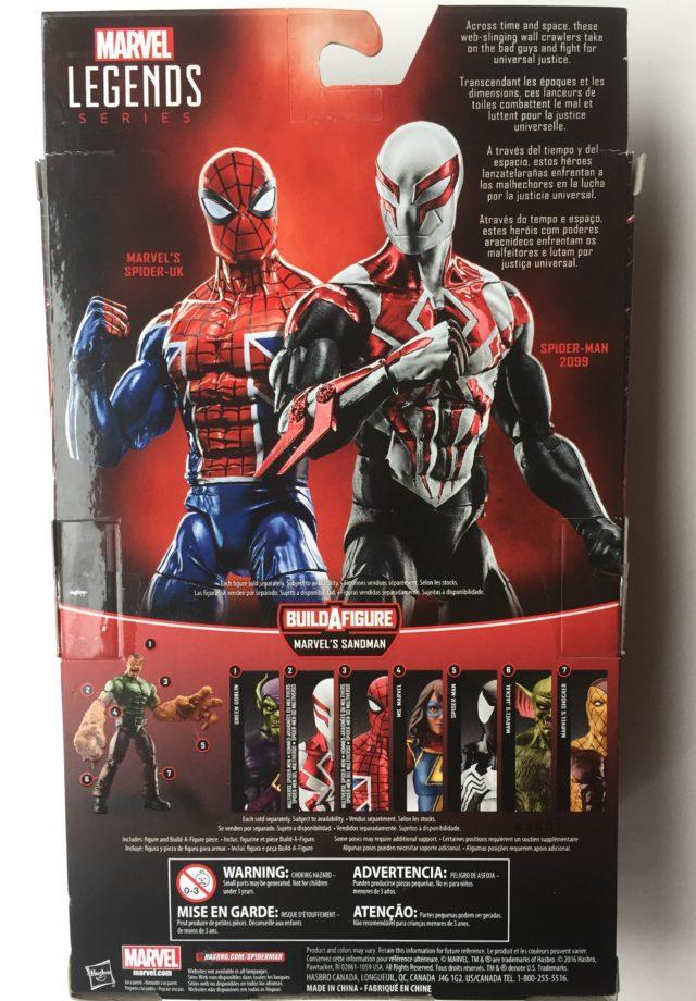 Back of 2017 Marvel Legends 2099 Spider-Man Figure