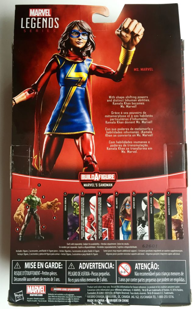 Box Back Spider-Man Legends Ms Marvel Kamala Khan