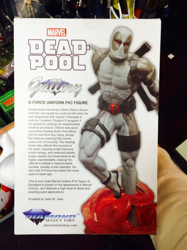 Box Back Marvel Gallery Exclusive Deadpool X-Force Variant Statue
