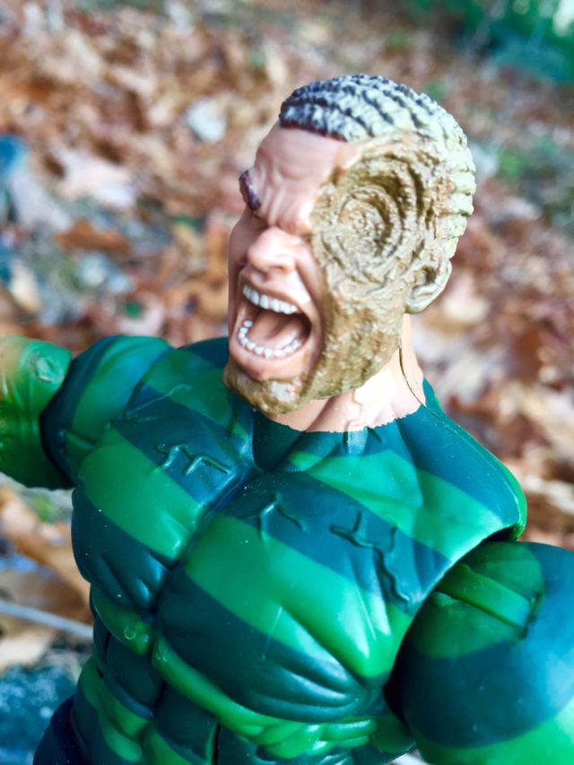 Close-Up of Spider-Man Legends Sandman Head Battle Damaged