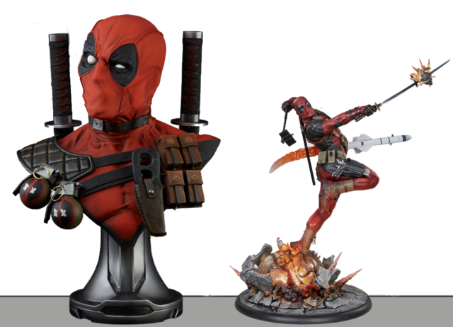 sideshow-collectibles-deadpool-premium-format-statue-comparison-with-life-size-bust