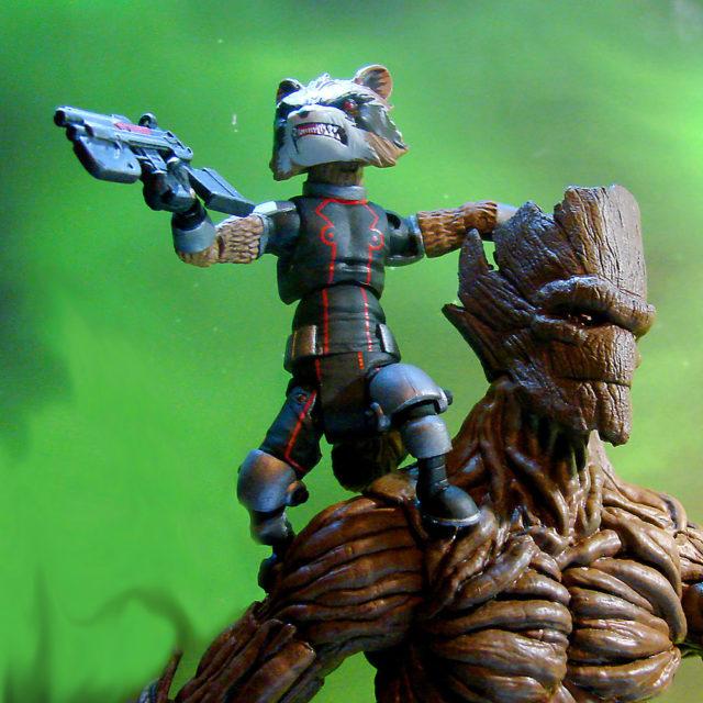 Disney Store Rocket Raccoon Figure on Groot Diamond Select Toys Figure's Shoulder