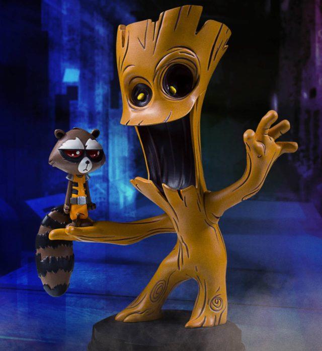 Groot and Rocket Raccoon Marvel Babies Animated Statue Gentle Giant