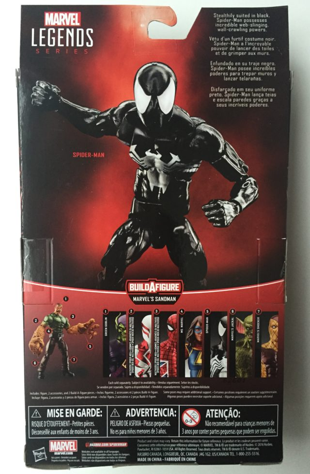 Box Back Marvel Legends Hasbro Symbiote Spidey Figure