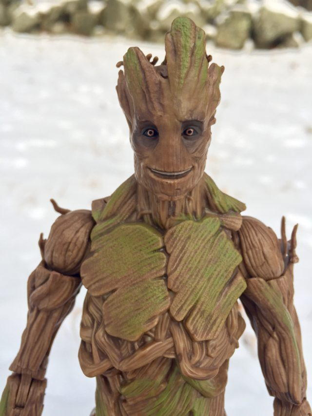 Close-Up of Smiling Groot Head Marvel Legends Evolution Pack Figure
