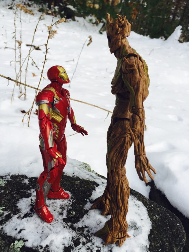 Marvel Legends Iron Man vs. Groot Size Scale Comparison Photo