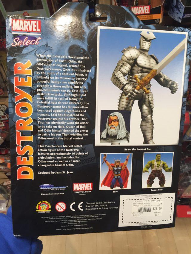 Back of Package Marvel Select Destroyer Figure