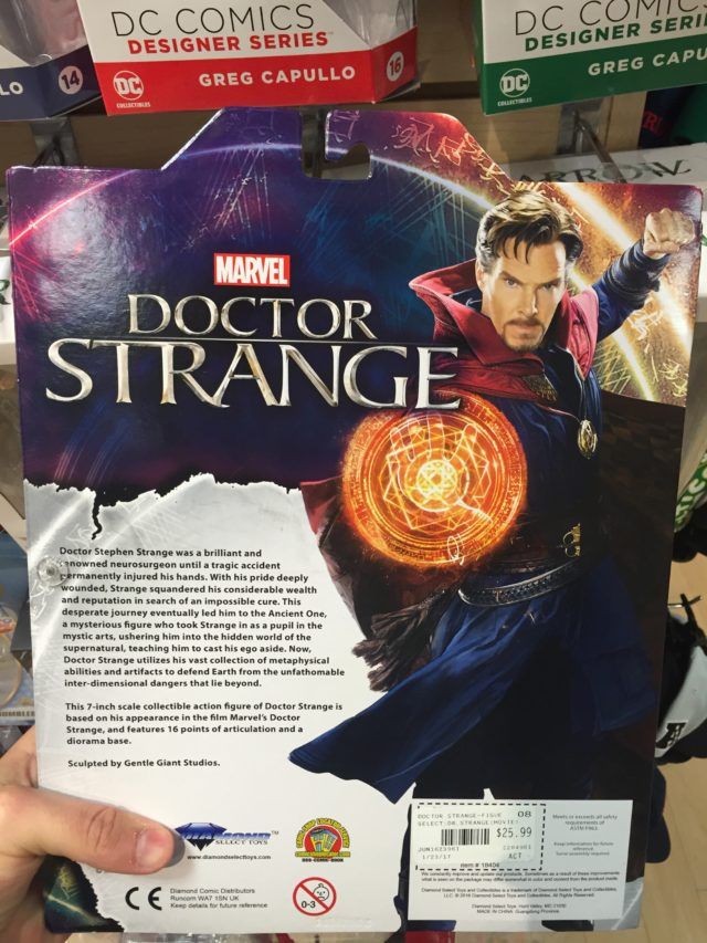 "Box Back Doctor Strange Marvel Select 7"" Figure"