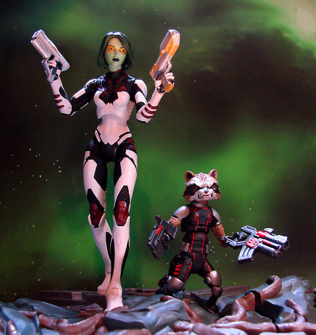 Marvel Select Guardians of the Galaxy Gamora Figure with Rocket Raccoon