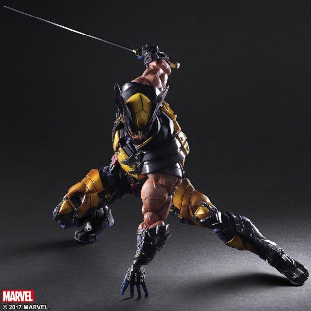 Play Arts Wolverine Figure Wielding Katana Sword
